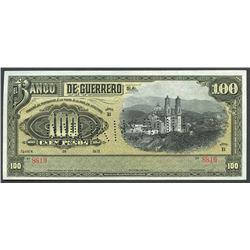 Iguala, Guerrero, Mexico, Banco de Guerrero, 100 pesos remainder, 19XX (1906-14), series B.