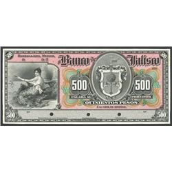 Lot of two Guadalajara, Mexico, El Banco de Jalisco, 500 pesos front and back proofs, no date 19XX (