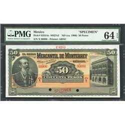 Monterrey, Nuevo Leon, Mexico, Banco Mercantil, 50 pesos specimen, ND (1906), series X, certified PM