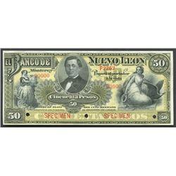 Monterey, Nuevo Leon, Mexico, Banco de Nuevo Leon, 50 pesos specimen, 19XX (1897-1913).