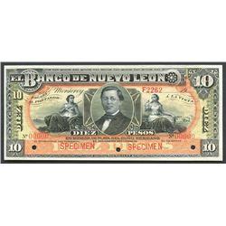 Monterey, Nuevo Leon, Mexico, Banco de Nuevo Leon, 10 pesos specimen, 19XX (1895-1913).
