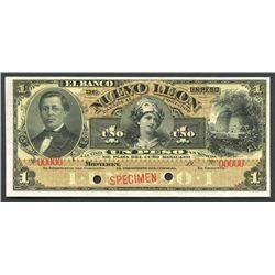 Monterey, Nuevo Leon, Mexico, Banco de Nuevo Leon, 1 peso specimen, 19XX (1892-1913).