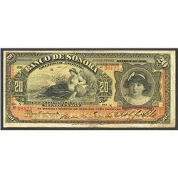 Sonora, Mexico, Banco de Sonora, 20 pesos, 1-12-1907, series N.