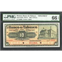 San Juan Bautista, Tabasco, Mexico, Banco de Tabasco, 10 pesos specimen, 1903, certified PMG Gem UNC