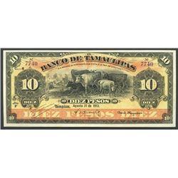 Tampico, Tamaulipas, Mexico, Banco de Tamaulipas, 10 pesos, 31-8-1913, series F.