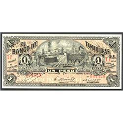 Tampico, Tamaulipas, Mexico, Banco de Tamaulipas, 1 peso, 15-2-1914, series 1P.