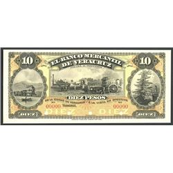 Veracruz, Mexico, El Banco Mercantil de Veracruz, 10 peso front proof, no date (1898).