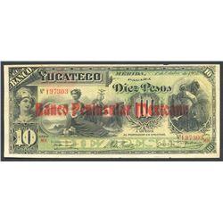 Merida, Yucatan, Mexico, Banco Peninsular Mexicano, 10 pesos, 1-10-1903, series MH, Frampton Plate.