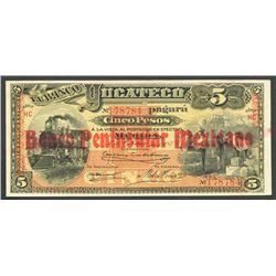 Merida, Yucatan, Mexico, Banco Peninsular Mexicano, 5 pesos, 1-10-1903, series HC, Frampton Plate.