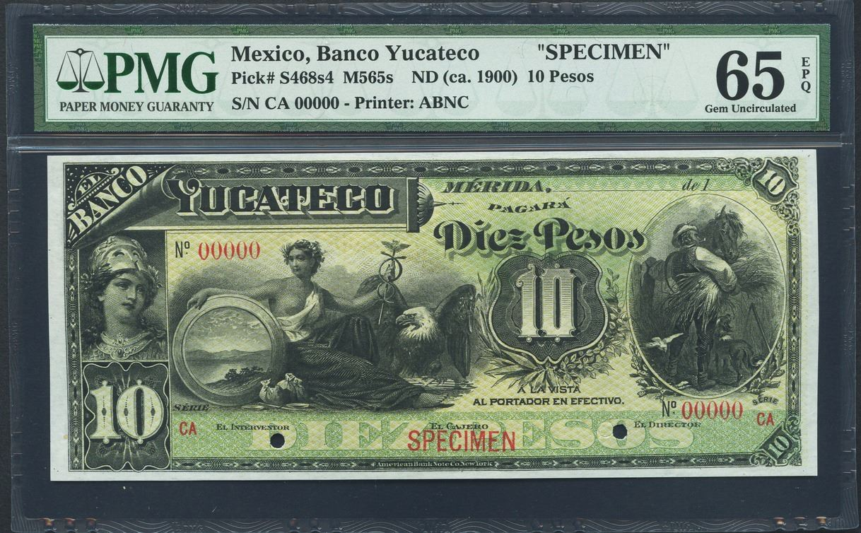 Lot of eight Mexican specimen notes of Merida, Banco