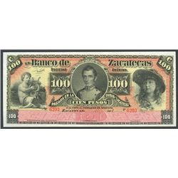 Zacatecas, Mexico, Banco de Zacatecas, 100 pesos remainder, 1XXX (1891-1912).