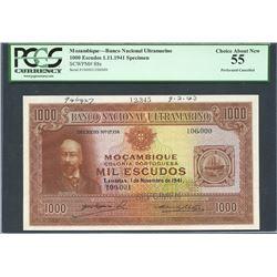 Mozambique, Banco Nacional Ultramarino, 1,000 escudos specimen, 1-11-1941, certified PCGS Choice Abo