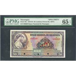Nicaragua, Banco Nacional, 50 cordobas specimen, ND (1929-39), series 1929, certified PMG Gem UNC 65