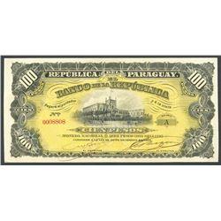 Lot of two Asuncion, Paraguay, Banco de la Republica: 100 pesos M.N. = 10 pesos oro and 5 pesos M.N.