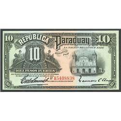 Lot of two Asuncion, Paraguay, Banco de la Republica, 10 pesos fuertes: 30-12-1920 and 25-10-1923.