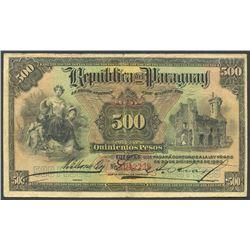Asuncion, Paraguay, Republica del Paraguay, 500 pesos, 30-12-1920.