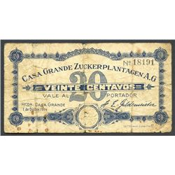 Peru, Casa Grande Zuckerplantagen A.G, 20 centavos scrip note, 1-12-1914.