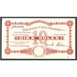 Lot of seven Peru, Hacienda Casa Grande: 10, 5, 1 soles, 50, 20, 10, 5 centavos, ND (ca. 1930s).