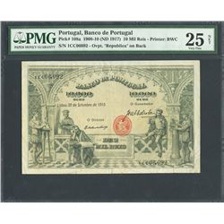 Lisbon, Portugal, Banco de Portugal, 10 mil reis, 30-9-1910 (1917), certified PMG VF 25 Net -Tears.