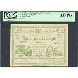 Mafeking, South Africa, Mafeking Siege Note, 10 shillings, 3-1900, certified PCGS VF 35 PPQ.