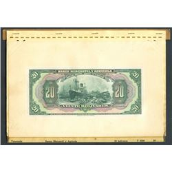 Caracas, Venezuela, Banco Mercantil y Agricola, 20 bolivares front proof, ND (1929-1935), printed on