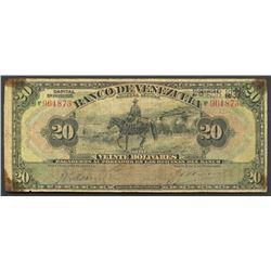 Caracas, Venezuela, Banco de Venezuela, 20 bolivares, 28-4-1937.