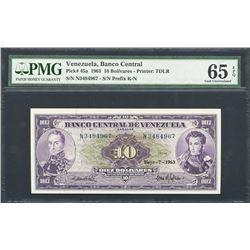 Caracas, Venezuela, Banco Central de Venezuela, 10 bolivares, 7-5-1963, certified PMG Gem UNC 65 EPQ