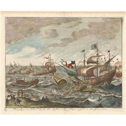 "Dutch woodcut engraving entitled ""De Galeyen van Frederik Spinola door's Landts Oorlogs Scheepen Ove"