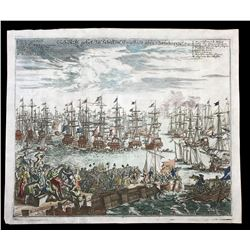 German engraving of the arrival of the Prince of Orange in London (ships) by Matthaus Merian, 1730 (