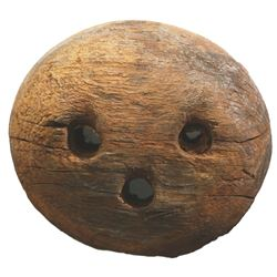 Large wooden deadeye from HMS Stirling Castle (1703).