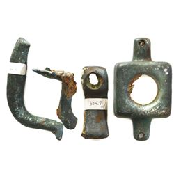 Lot of four bronze ship's fittings from HMS Tilbury (1757).
