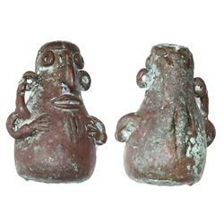 Small copper vessel in the form of a grotesque creature, found in Peru (probably Inca).