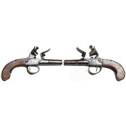 Pair of flintlock screw-barrel pocket pistols signed by Berleur (1780-1840).