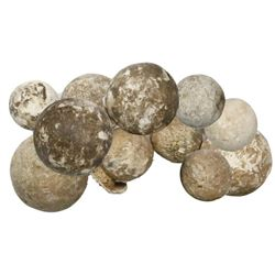 Lot of eleven lead musketballs, various sizes, Spanish colonial, 1600s.