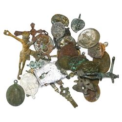 Large lot of 35 bronze, lead and aluminum religious medallions, crosses, crucifixes and pieces from