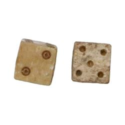 Pair of tiny bone dice, Spanish colonial, 1500s-1600s.