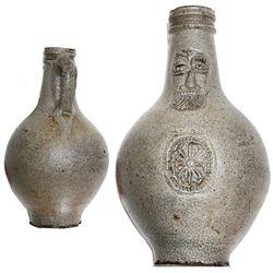 "German stoneware ""Bellarmine"" jug, ca. 1650."
