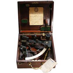 English brass navigational sextant, ca. 1900.