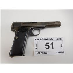 F.N. BROWNING , MODEL: 1922 P6266 , CALIBER: 7.65MM