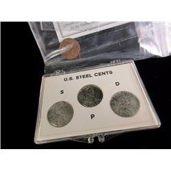 1943 Steel Cent Lot w/ Indian Head Penny