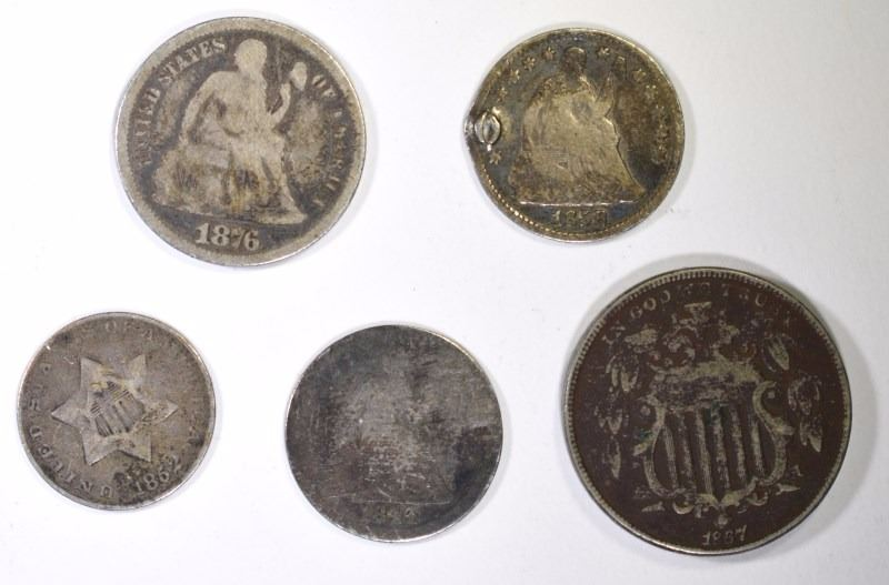 14 COIN COLLECTORS LOT: 2 CENTS 1867, 1866, 1864