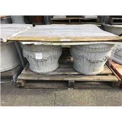 4 SHORT ROUND FLOWERED CEMENT GARDEN STONE PLANTERS