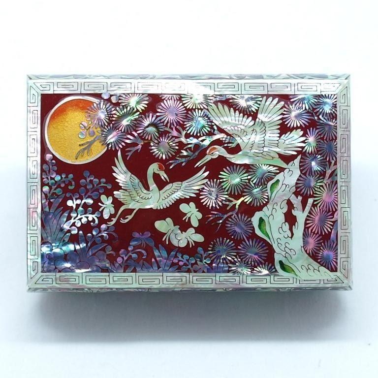 Asian Mother Of Pearl Lacquerware Cranes Box
