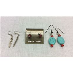 3 Pairs Native American Made Earrings