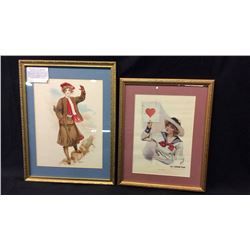 """1912 Print """"The Target"""" and 1908 Litho """"Hunting"""