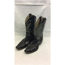 Lizard Boots with White Stitching