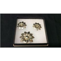 Silver Pen Drop Stud Flower Earrings Set