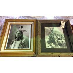 2 Native American Photos Framed