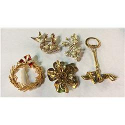 5 Costume Jewelry Pins