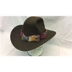 Brown 7 1/4 Hat with Feather Hat Band
